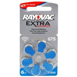 Rayovac Extra Advanced vel. 675, 6 ks, 1,45V, baterie do naslouchátek PR44