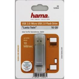 Flash disk Hama flashPen Laeta Twin 16 GB 10 MB/s, šedá