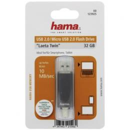 Flash disk Hama flashPen Laeta Twin 32 GB 10 MB/s, šedá