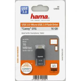 Flash disk Hama FlashPen Canny USB 3.0, 16 GB, 70 MB/s, tmavá šedá