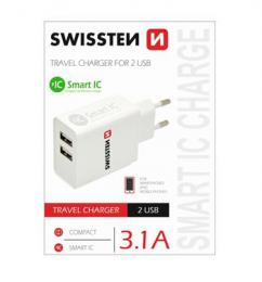 Sí�ový adaptér Swissten Smart IC 2x USB 3,1A Power bílý