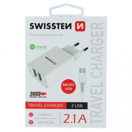 Sí�ový adaptér Swissten SMART IC 2x USB 2,1A Power + datový kabel USB / micro 1,2 M bílý