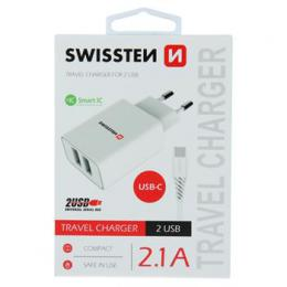Sí�ový adaptér SMART IC 2x USB 2,1A POWER + datový kabel USB / TYPE C 1,2 , bílý