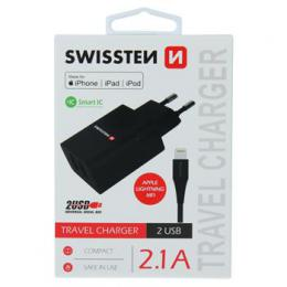 Sí�ový adaptér Swissten Smart IC 2x USB 2,1A Power + kabel USB/Lightning MFi 1,2 m èerný