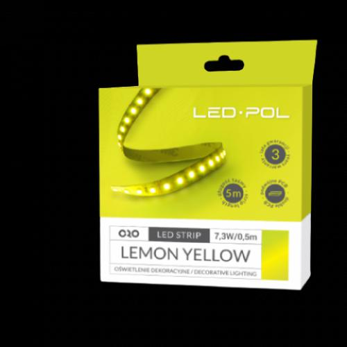 LED páska ORO-STRIP-600L-2835-NWD-LEMON-YELLOW, 5m, 7,3W/0,5m, DC 12V, ORO09070