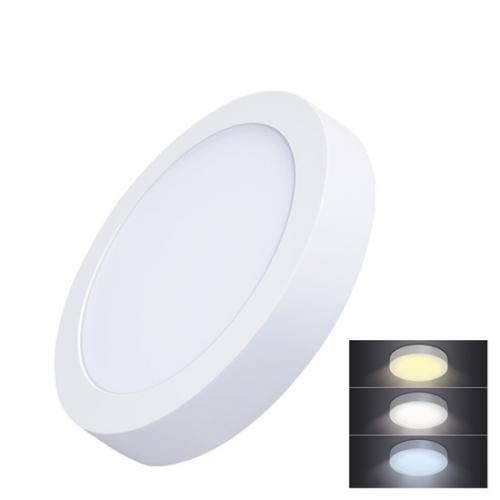 LED mini panel CCT, pøisazený, 18W, 1530lm, 3000K, 4000K, 6000K, kulatý, Solight WD172